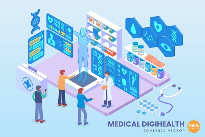 Thumbnail for Isometric Medical Digihealth Vector Concept