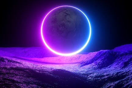 Scifi neon abstract background with a moon