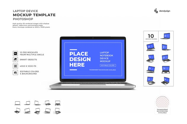 Laptop Device Mockup Template Set