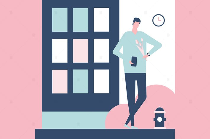 Thumbnail for Dating app - flat design style illustration