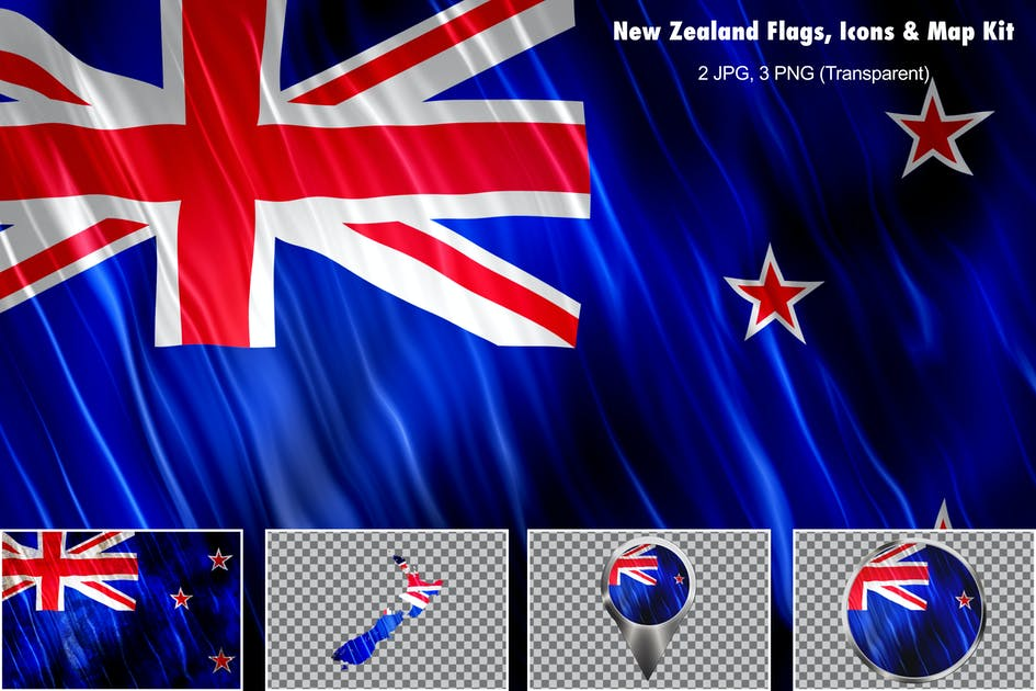 Download New Zealand Flags Icons Map Kit by StrokeVorkz