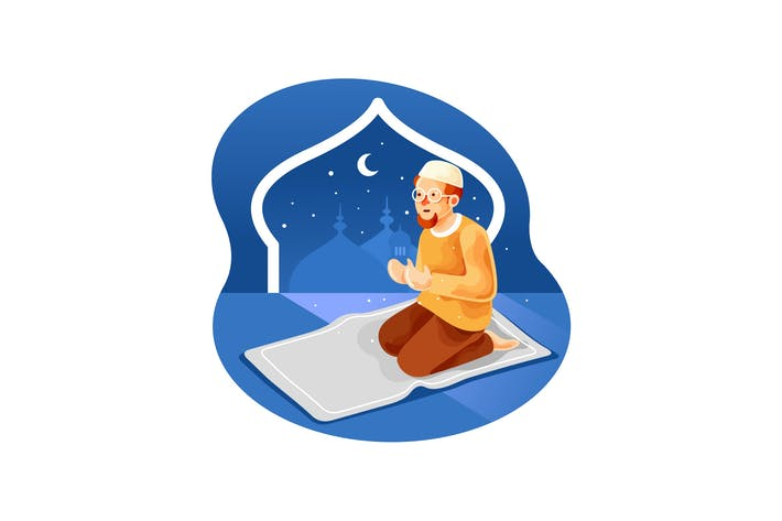 Thumbnail for Muslim sitting on the prayer rug while praying