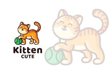 Kitten Cute Kids Logo Template