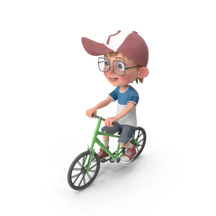 Cartoon Junge Harry Reiten Fahrrad