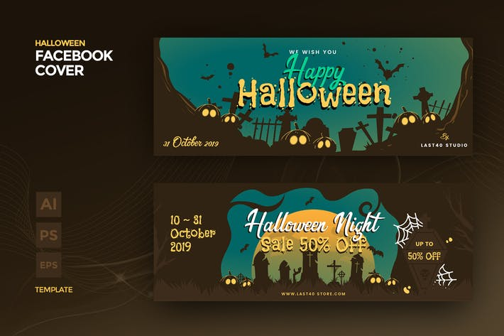 Thumbnail for Halloween Facebook Cover & Banner Template