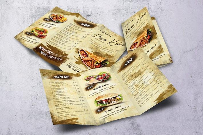 Doner Kebab Trifold A4 & US Letter Food Menu