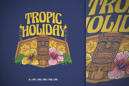 Tiki Tropic in Vintage Style Illustration