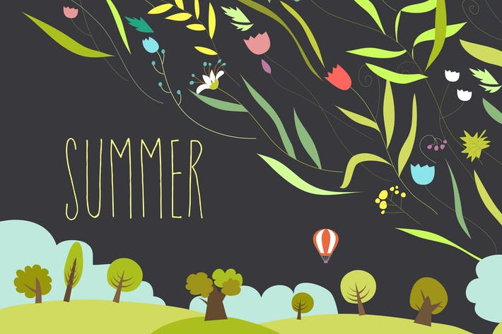 Cover Image For Blooming flowers with summer landscape. Vector