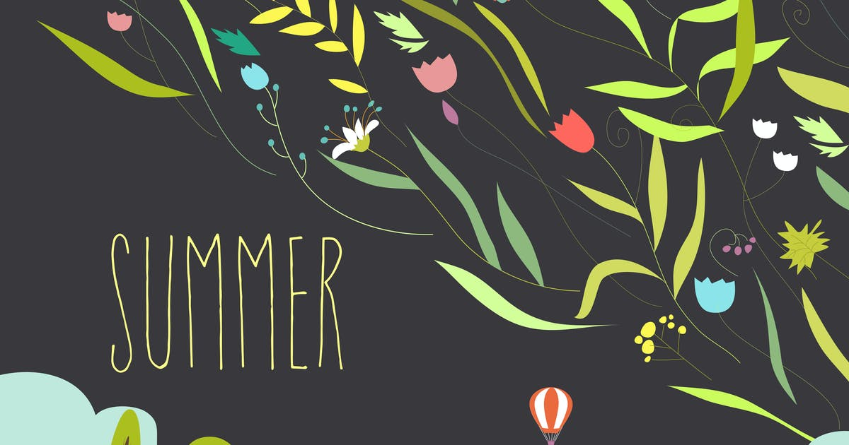Download Blooming flowers with summer landscape. Vector by masastarus