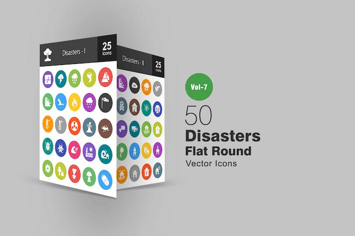 50 Katastrophen Flache runde Icons