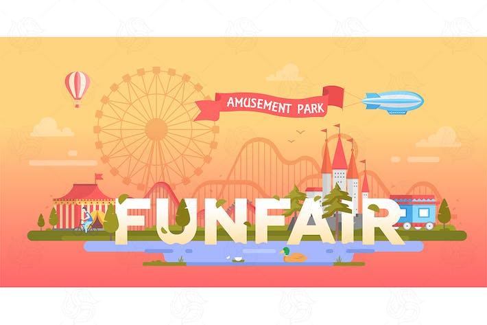 Thumbnail for Funfair - modern vector banner illustration