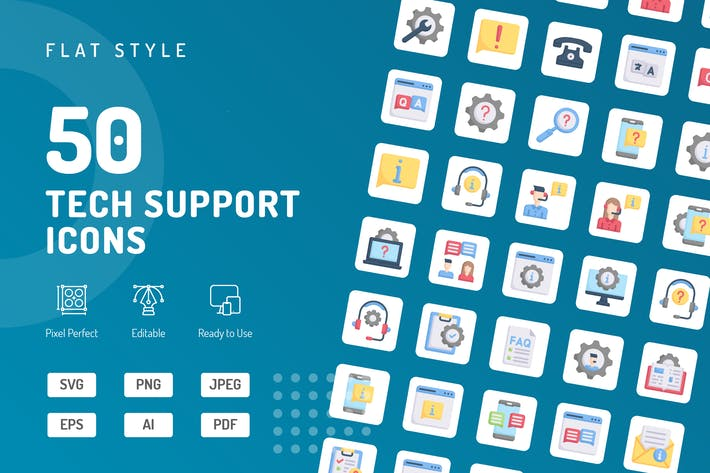 Thumbnail for Tech Support Flat Icons