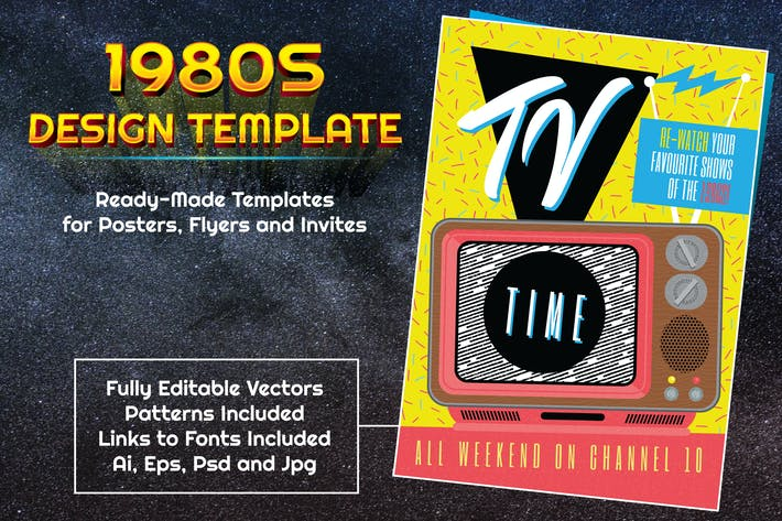 Thumbnail for 1980s Retro TV Themed Design Template