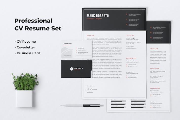 Thumbnail for Professional CV Resume Set Vol. 04