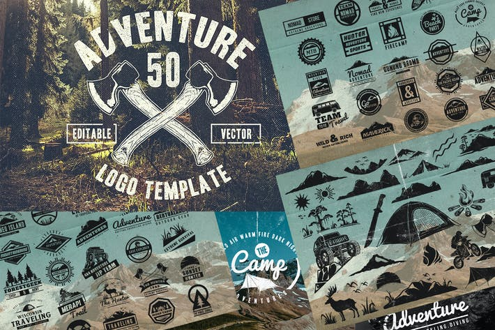 Thumbnail for 50 Vintage Adventure Outdoor Badges & Logos