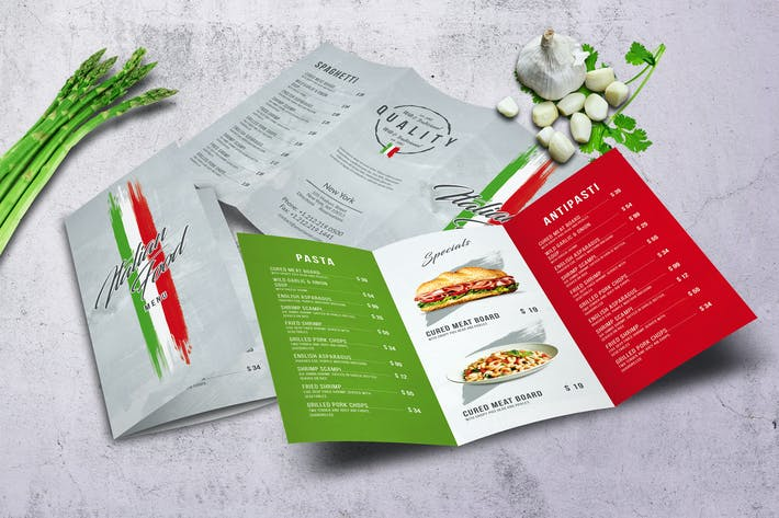Thumbnail for Italian Light A4 - US Letter Trifold Food Menu