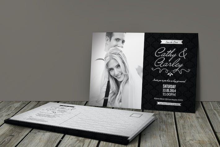 Thumbnail for Black & White Elegant Wedding Invitation & RSVP