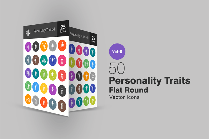 Thumbnail for 50 Personality Traits Flat Round Icons