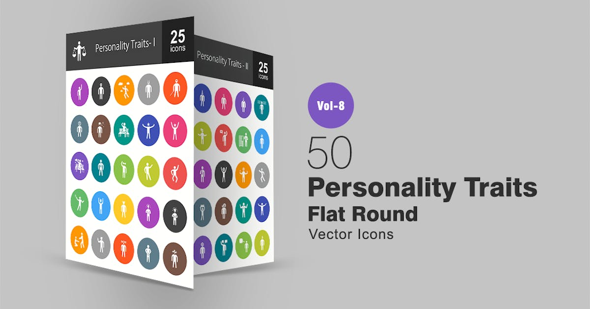 Download 50 Personality Traits Flat Round Icons by IconBunny