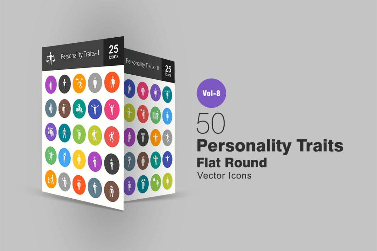 Download 50 Personality Traits Flat Round Icons by IconBunny by Unknow