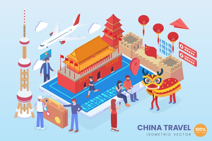 Thumbnail for Isometric China Travel Holiday Vector Concept