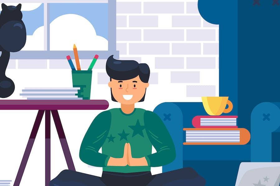 A Man Doing Yoga At Home Illustration