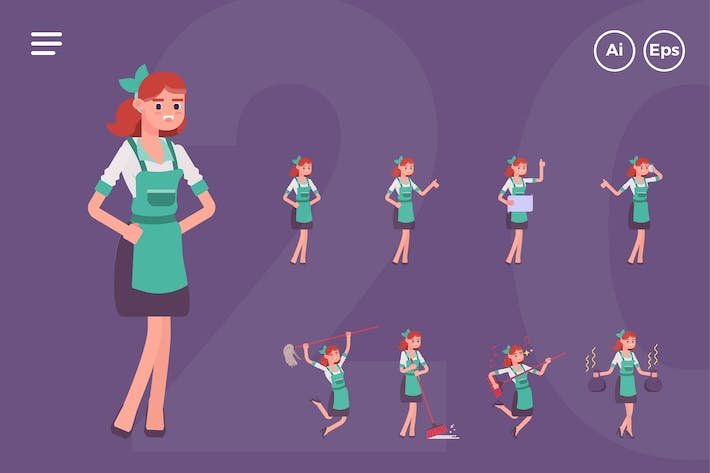 Thumbnail for Female Cleaning Service Character Set (20 Poses)