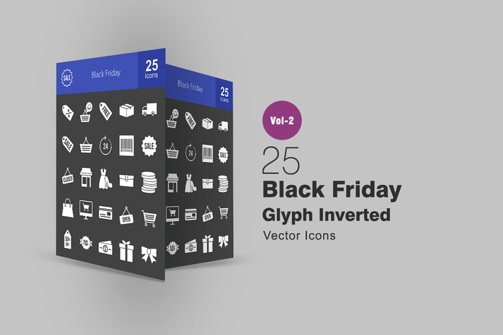 Thumbnail for 25 Black Friday Glyph Inverted Icons