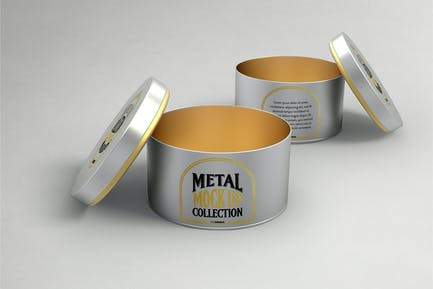 Round Cans with Plug Metal Cap Packaging Mockup