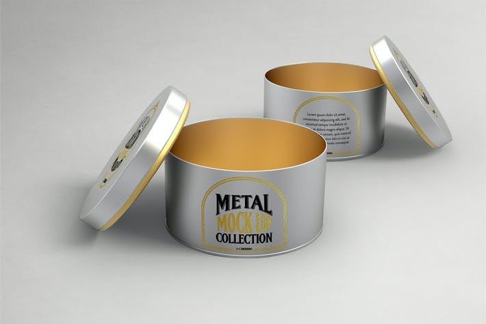Thumbnail for Round Cans with Plug Metal Cap Packaging Mockup