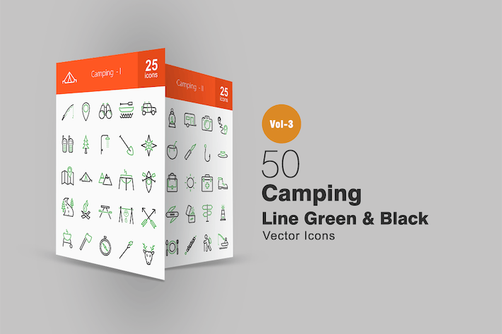 Thumbnail for 50 Camping Line Green & Black Icons