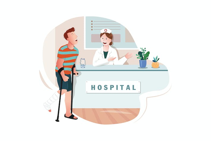 Thumbnail for Young man with broken leg bone in doctor's office