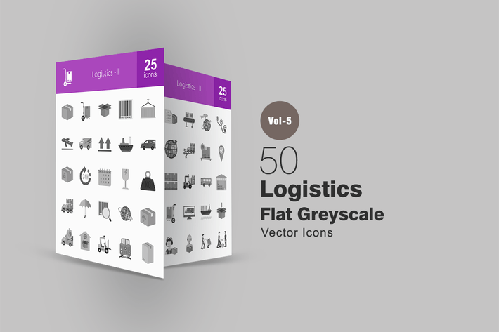 Thumbnail for 50 Logisics Greyscale Icons