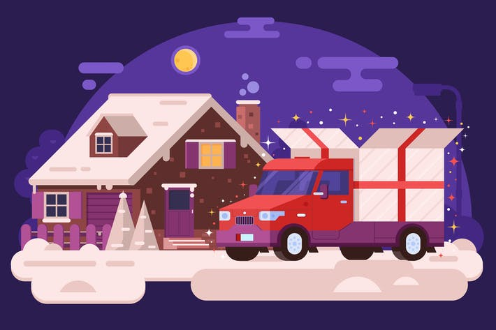 Thumbnail for Christmas Van Deliver Presents to Winter House