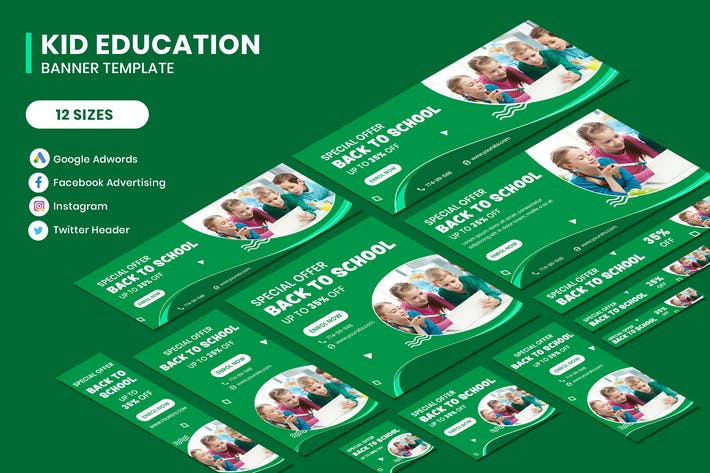 Thumbnail for Kids Education Google Adwords Banner Template