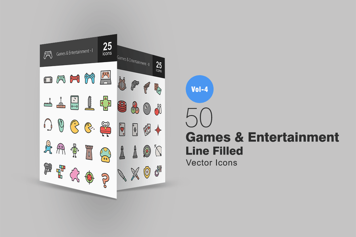Thumbnail for 50 Games & Entertainment Line Filled Icons