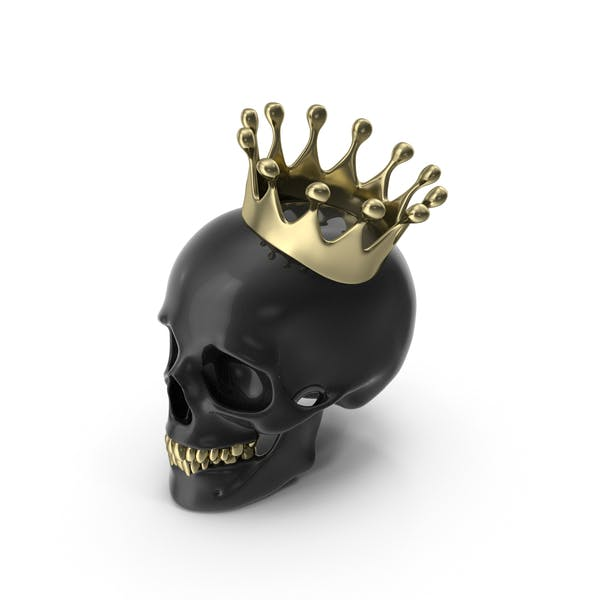 Black Skull With Gold Teeth And Crown