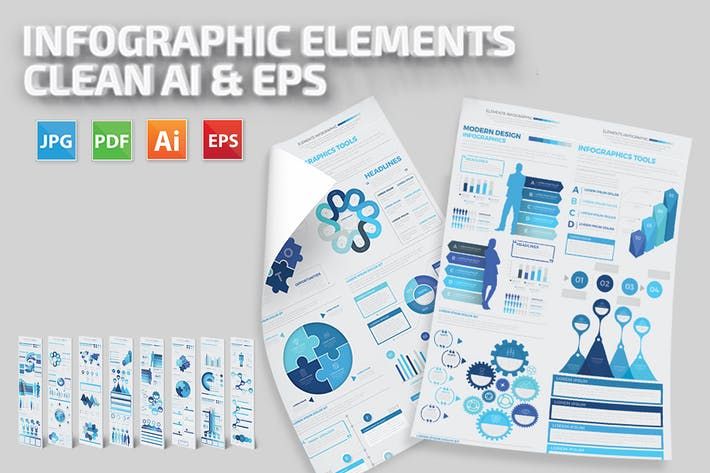 Cover Image For Blue Infographics Elements Template