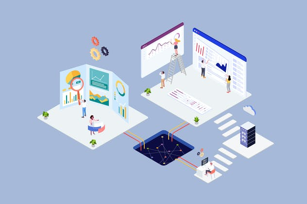 Analysis Agency Concept Isometric Illustration