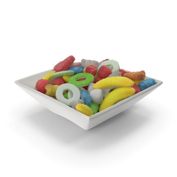 Square Bowl with Sugar Coated Gummy Candy