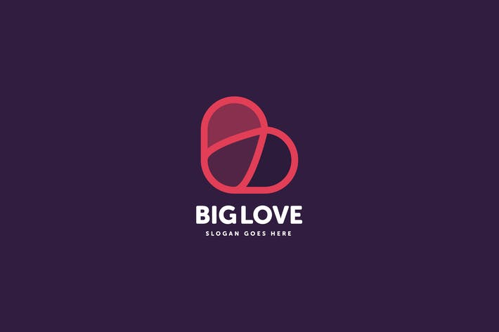 Cover Image For Big Love B Letter Logo Template