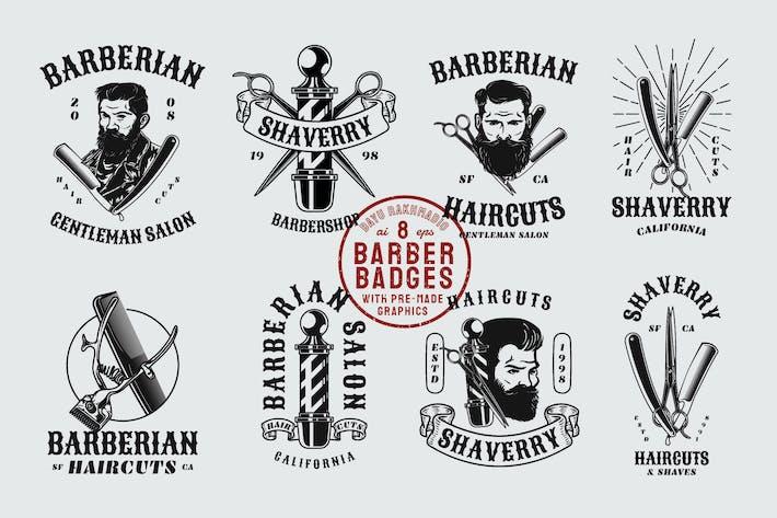 Thumbnail for 12 Vintage Barber Shop Abzeichen & Grafiken