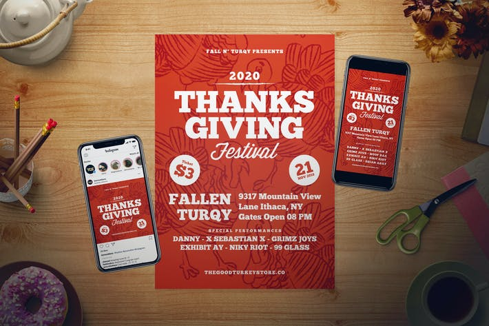 Thumbnail for Thanksgiving Day Flyer Set