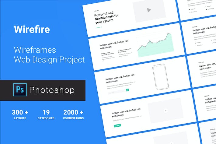 Cover Image For Wireframe Web Design Project 300++ PSD Version