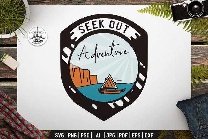 Thumbnail for Nautical Adventure Badge Vector Retro Graphic Logo