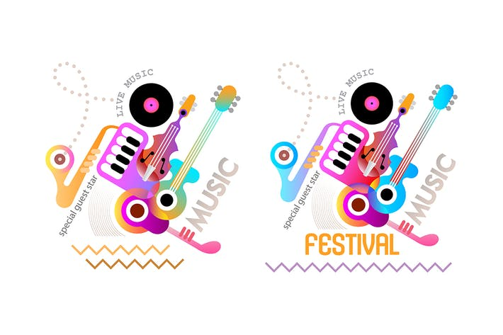 Cover Image For 4 Music Festival Poster Designs, vector artworks