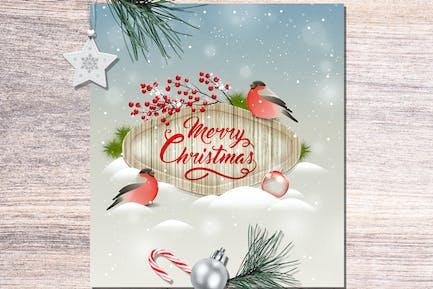 Christmas Greeting Card with Bullfinch