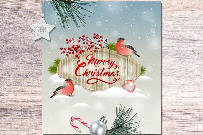 Christmas Greeting Card with Bullfinch