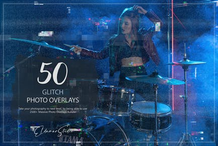 50 Glitch Photo Overlays