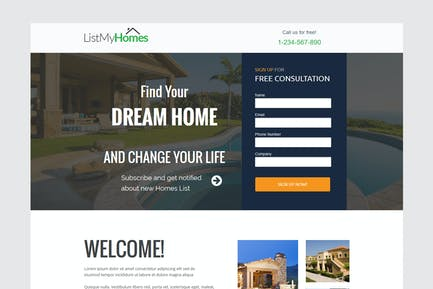 Homes Realestate unbounce Landing Page